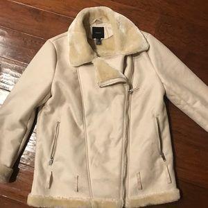 Forever 21 asymmetrical faux fur zip jacket, L